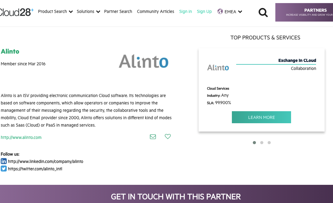 Alinto takes part in Cloud28+ community
